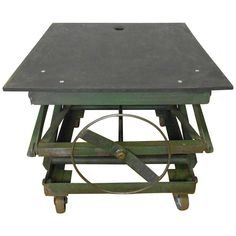 Slate-top Industrial Scissor Lift As Coffee Table, End Table, Dining Table