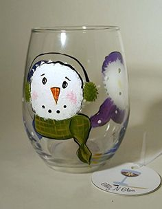Hand Painted Snowman Stemless Wine Glass