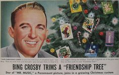 1940s Bing Crosby Vintage Illustration Christmas Tree Advertisement