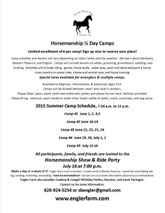 Engler Horse Farm Horsemanship  Day Camps Fees, dates, ages, equipment and requirement list.
