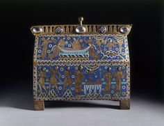 The Becket Casket  Object: Casket  Place of origin: Limoges, France (made)  Date: ca. 1180-1190 (made)  Artist/Maker: Unknown (production)  Materials and Techniques: Copper alloy, champlevé enamel, crystal, glass; wooden core