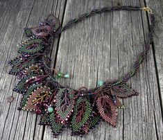 Beadweaving: Spiral Necklace with Russian Leaves - Deep Green, Amethyst, Burgundy.