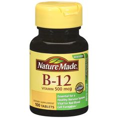 Nature Made Vitamin 500 Mcg Tablets Nature Made Vitamins, Nervous System Function, Cellular Energy, Vitamin B12, Health Goals, Metabolism, The Cure, Vegetarian, Treats