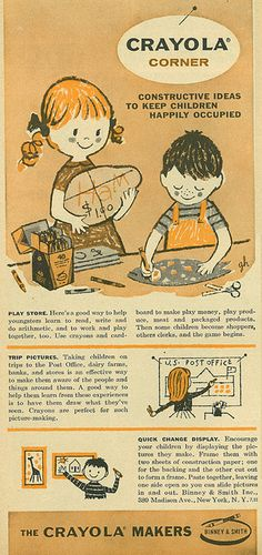 A cute 1957 illustrated ad for Crayola Markers.