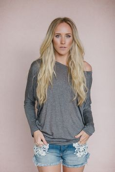 Off the Shoulder Long Sleeved Dolman in Dark Gray from Gypsy Outfitters - Boho Luxe Boutique Affordable Boho Clothes, Bohemian Tops, Bohemian Clothing, Luxe Boutique, Dolman Top, Tunic Tops, Boho Outfits, Long Sleeve, Charcoal