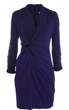 Karen Millen Blue Golden Long Sleeve Knot Detail Dress Womens
