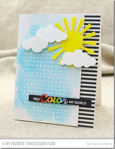 Rainbow of Happiness, Lots of Dots Background, Color the Rainbow Die-namics, Puffy Clouds Die-namics, Sunny Skies Die-namics - Barbara Anders  #mftstamps