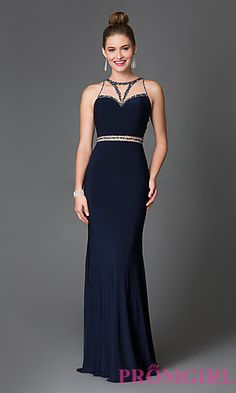 Sleeveless Beaded Cut-Out Prom Dress by Xcite at PromGirl.com