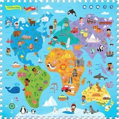 Creative Baby 9 Piece Interactive Playmat i-Mat™, Around the World, White Baby Play, Baby Kids, Kids Cot, Les Continents, Language Development, Child Development, Interactive Learning, Fantastic Baby, Baby Shop