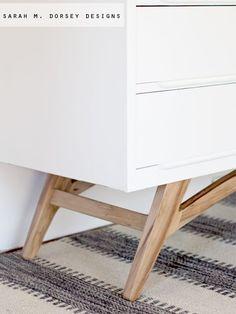 sarah m. dorsey designs: Adding Legs to a Mid Century Modern Dresser   How To