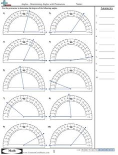 Angles Excellent Source for Identifying and Measuring Angles: