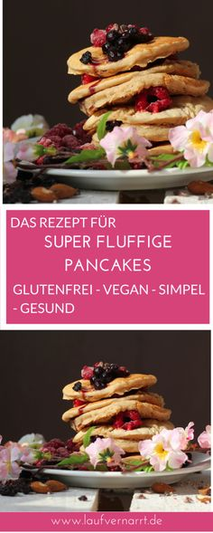 Gluten free pancakes (vegan & healthy) fond of running # nutrition . Pancakes Vegan Healthy, Gluten Free Pancakes, Vegan Keto, Paleo Breakfast, Vegan Food, Vegetarian Keto, Health Breakfast, Vegan Dishes, Sin Gluten