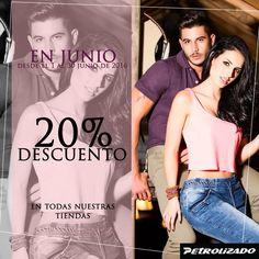 Aprovecha nuestro 20% descuento en todas nuestras tiendas El GranSan Victorino #CentroComercialSanCarlos #Restrepo #TiendaRestrepo #PetrolizadoJeans