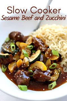 Slow Cooker Sesame Beef with Zucchini—tender chunks of beef with bites of zucchini in an easy stir fry sauce. #slowcooker #crockpot #beef #crockpotstirfry