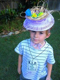 Love these homemade Easter bonnets made with paper plates and paper bowls! I think this would be more appropriate for the girls though! Maybe make a top hat version for boys using an oatmeal can on top of plate? Also saw this on impressyourkids.com, and she had a neat idea for a game/ egg hunt while kids were wearing these. Lay eggs all over the floor, play music and when music stops, kids pick up the number of eggs you call out. Keeps kids of different ages from trampling each other.