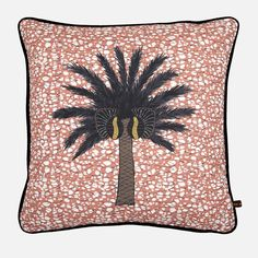 Aburi Botanical Gardens in Ghana is the inspiration for this statement cushion. The black and brown palm design stands out placed atop a pink-hued batik backdrop, evoking a colorful African oasis in your interior. Yellow Pillows, Throw Pillows, Accent Pillows, Copper And Pink, Adinkra Symbols, Contemporary African Art, Diy Pillow Covers, African Design, Cotton Velvet