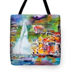 """#Sailing Past #Vernazza #Italy #Seascape #Tote #Bag (18"""" x 18"""") by #Unique #Fine #Art #Artist #GinetteCallaway #Ginette #Callaway. The tote bag is machine washable, available in three different sizes, and includes a black strap for easy carrying on your shoulder.  All totes are available for worldwide shipping and include a money-back guarantee."""