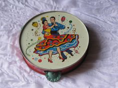 Vintage Toy Metal Tambourine with Spanish Dancers  #TY01 #unknown