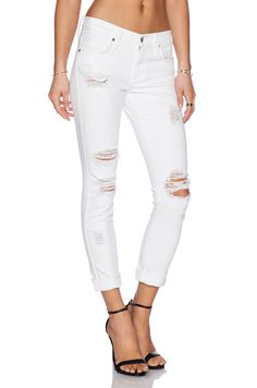James Jeans Neo Beau Slouchy Fit Boyfriend in Destroyed White | REVOLVE