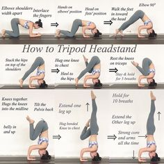 Step-by-step tips for Forearm Stand + Tripod Headstand. Don't be afraid to use props + a wall! Fitness Workouts, Yoga Fitness, Yoga Videos, Workout Videos, Yoga Sequences, Yoga Poses, Yoga Headstand, Handstands, How To Do Headstand