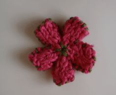 Knitted Flower Hair Clips