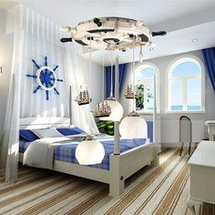 Mediterranean Creative Retro Rudder Boat 3 Lights Children S Room Pendent Bedroom Lamp