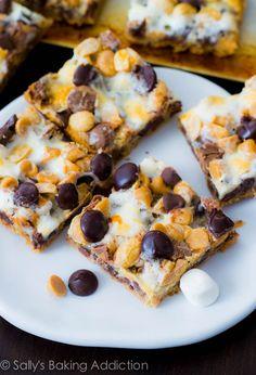 Peanut Butter Smore 7 Layer Bars by sallysbakingaddiction.com