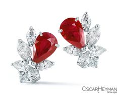 Pear Shaped Ruby and White Diamond Earrings by Oscar Heyman