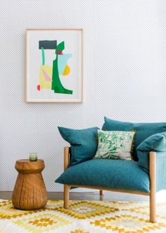 The Design Files Open House 2012 - chair and sidetable by Jardan, artwork by Kirra Jamison, rug by Loom Rugs. by eyecandies