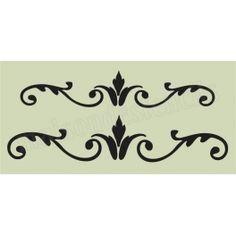 Flourish D 5.5x11.5 Stencil