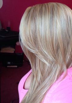 Blonde hair with highlights and short and long layers