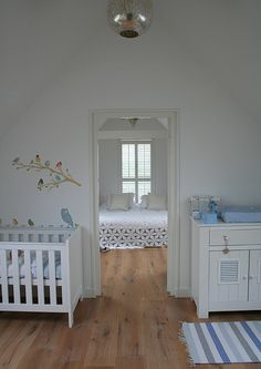 baby room right next to parents room. Lovely wall stickers