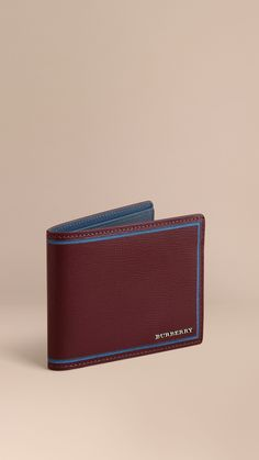 Border Detail London Leather Folding Wallet Burgundy Red | Burberry
