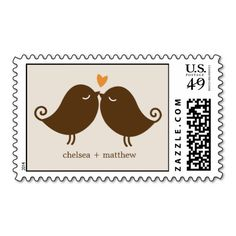 Love Birds Monogram Wedding Postage Stamps