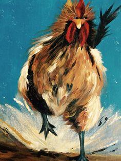 Haan acryl op canvas