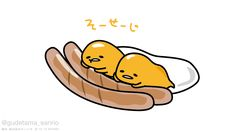 gudetama with breakfast sausages Cute Wallpaper Backgrounds, Cute Wallpapers, Japon Tokyo, Cute Egg, Cute Anime Character, Kawaii Chibi, Line Friends, Sanrio Characters, Little Twin Stars