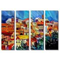 All My Walls 'French' by Richard Graves 4 Piece Graphic Art Plaque Set