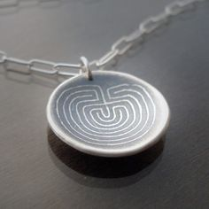 Lisa Hopkins: Etched Silver Labyrinth Necklace