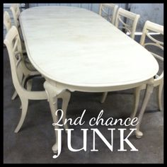 6 chairs & extra large kitchen table painted with Old Town Paints Antique White, distressed and finished with Clear Matte Finished and Antique Glaze. 2nd Chance Junk {sold}