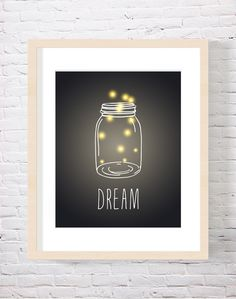 Dream Firefly Art Print Firefly Mason Jar Art by CarnivalePress, $18.00