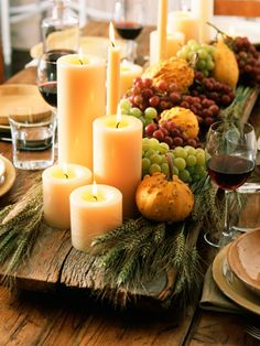 dinner party ideas & decor Thanksgiving/Fall Centerpiece- wood planks are great for a rustic table setting.Thanksgiving/Fall Centerpiece- wood planks are great for a rustic table setting. Thanksgiving Table Settings, Thanksgiving Centerpieces, Holiday Tables, Christmas Tables, Thanksgiving Pictures, Fall Table Settings, Fall Pictures, Deco Floral, Autumn Home