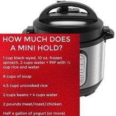 how much does an instant pot mini hold Power Pressure Cooker, Using A Pressure Cooker, Instant Pot Pressure Cooker, Pressure Cooker Recipes, Pressure Cooking, Instant Crock Pot, Small Instant Pot, Instant Pot Comparison, Mini Crockpot Recipes