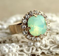 Mint+Opal+Gold+adjustable+ring++14k+1+Micron+thick+by+iloniti,+$42.00