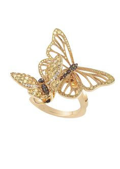 Chopard Animal World - A delicate gem-set butterfly ring.  Designed as a pair of fairy light golden butterflies, whose coloured diamond and yellow sapphire openwork wings flutter delicately over the finger; wrapped in a rose gold band.