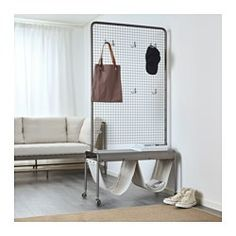 IKEA - VEBERÖD, Room divider, Use the included hooks to hang things and decorations on the mesh wall - or why not have a green plant climb it?Each piece of furniture has a unique personality since natural marks and traces from the production are fully visible and part of the industrial expression.The design makes this piece of furniture easy to place, easy to use for various needs, and easy to match with other furnishings.Store and decorate with things you like so you have them close at…