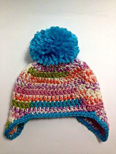 Ganchillo bebé con orejeras sombrero con Pom;  Niño ganchillo / Niño con orejeras sombrero con Pom