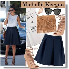 Michelle Keegan in Skater Skirt by anne-mclayne on Polyvore featuring Office, Rebecca Minkoff, Michael Kors, Linda Farrow, women's clothing, women's fashion, women, female, woman and misses