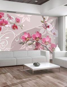 Papier peint Flight of pink orchids Artgeist Living Room Designs, Living Room Decor, Home Decor Items Online, Creative Wall Decor, 3d Wallpaper For Walls, Pink Furniture, Sofa Set Designs, Pink Orchids, Flower Wall Decor