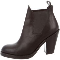 Pre-owned Acne Leather Round-Toe Booties ($295) ❤ liked on Polyvore featuring shoes, boots, ankle booties, black, elastic boots, black leather boots, leather booties, leather ankle booties and black boots