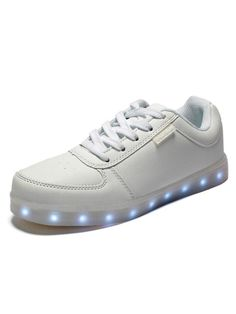 White Lace Up LED Sole Low Sneakers